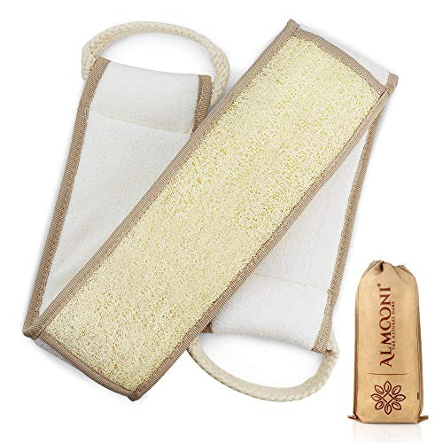 Exfoliating Natural Loofah Back Scrubber for Shower to Clean Your Back Deeply