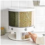 Dispensador de arroz Sellado de 22 Libras, 6 Rejillas, contenedor de Almacenamiento de Grano Giratorio de 360 °, Caja a Prueba de Humedad, Organizador de Alimentos Secos a Prueba de Insectos