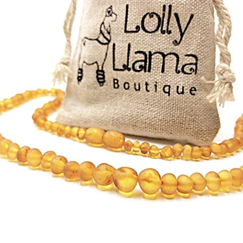 Adult Raw Baroque Baltic Amber Necklace - All Natural Pain Relief for Adults to Help Migraines, Sinus, Arthritis and More! - Honey (18 Inches)