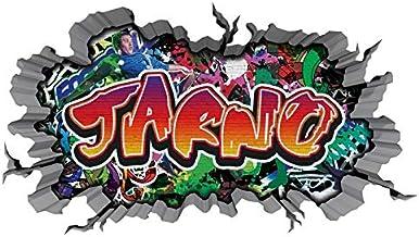 3D wandtattoo graffiti muursticker naam JARNO muurdoorbraak sticker Boy zelfklevend muursticker jongendeco kinderkamer 11M...