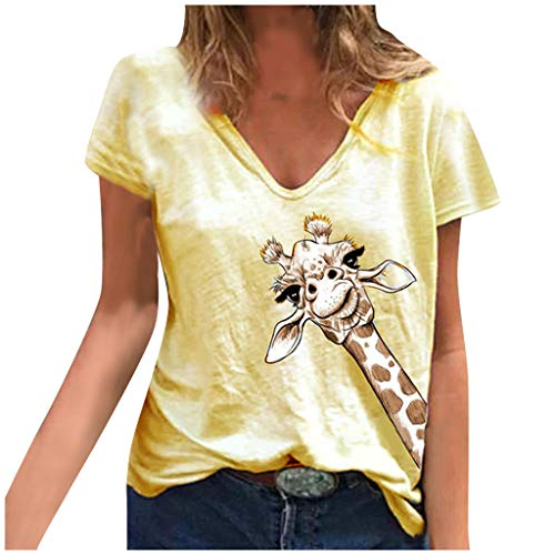 Fantastic Prices! Toimothcn Women V Neck Tops Cute Animal Printed Short Sleeve T-Shirt Tunic Top Loo...