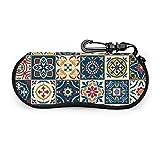 sherry-shop Estuche de anteojos Marroquí Azulejos Patrón Gafas de sol Estuche Suave Ultraligero Estuche de anteojos con cremallera portátil Neopreno versátil personalizado