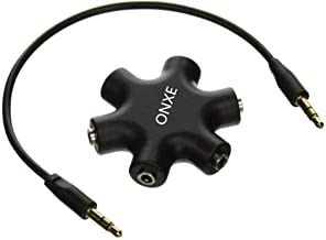 Headphone Splitter,ONXE 3.5mm Stereo Audio Headset Adapter,5 Way 1 Male to 2 3 4 5 Female Splitter Cable for iPod,Mp3 Player,Mobile Phone,Laptop,PC,Headphones,Speakers(Black)