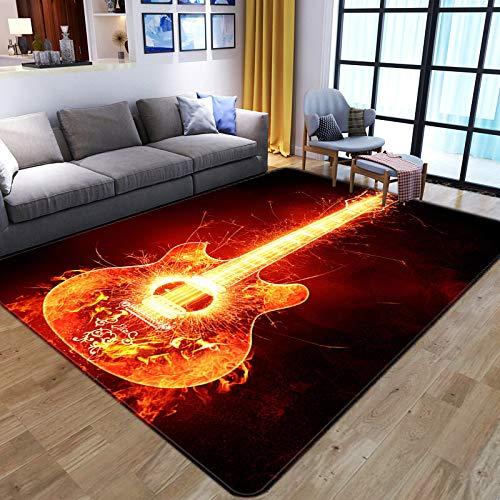 Area Carpet For Living Room,Microfiber 3D Anti-Slip Large Area Rugs,Modern Flame Guitar,Indoor Short Pile Soft Comfy Durable Bedside Mat,For Living Room Bedroom Hotel Home Decor,60X90Cm