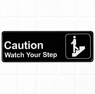 "Caution Watch Your Step Sign - Black and White, 9"" x 3"", Safety/Caution Signs, Restaurant Compliance Signs by Tezzorio"