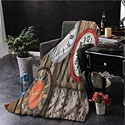 Luoiaax Clock Flannel Fleece Throw Blanket Antique Clocks on The Wall Instruments of Time Vintage Design Pattern Artwork Soft Fuzzy Blanket for Couch Bed W70 x L70 Inch Brown and Red