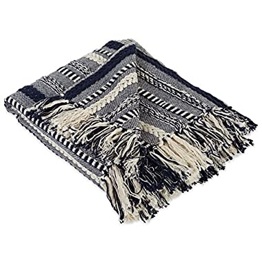 DII Farmhouse Cotton Stripe Blanket Throw with Fringe For Chair, Couch, Picnic, Camping, Beach, & Everyday Use , 50 x 60  - Braided Stripe Navy