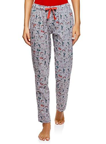 oodji Ultra Mujer Pantalones Estampados de Estar por Casa, Gris, ES 36 / XS