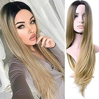 Peluca rubia Ombre para mujer, pelo largo, recto, raíz oscura, rubio, peluca sintética con gorro para el pelo