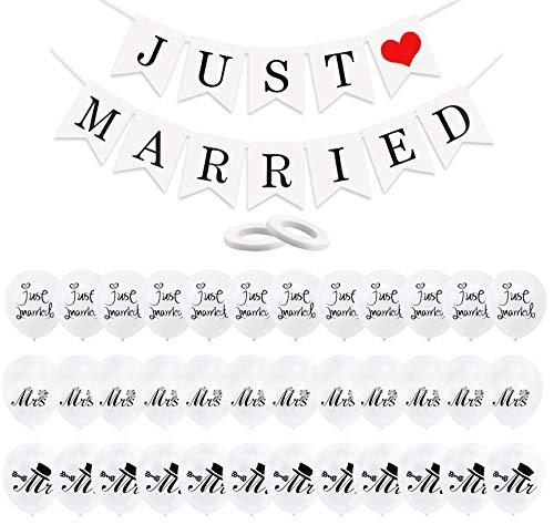 LxwSin Just Married Decoraciones, Banners y Globos de Boda, 30 Globos Blancos y JUST MARRIED Banderines con 2 Cintas, Romántica Just Married Guirnalda, Propuesta Regalo Boda Fiesta Decoración Conjunto