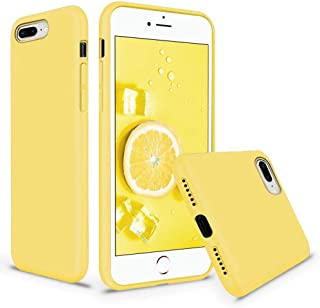 Vooii iPhone 8 Plus Case, iPhone 7 Plus Case, Soft Liquid Silicone Slim Rubber Full Body Protective iPhone 8 Plus/7 Plus Case Cover with Soft Microfiber Lining for iPhone 8 Plus iPhone 7 Plus - Yellow
