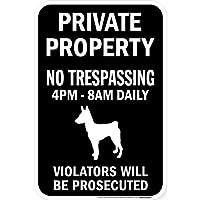 PRIVATE PROPERTY ブラックマグネットサイン:バセンジー シルエット 英語 私有地 無断立入禁止