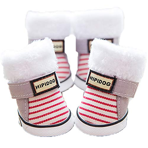 Zapatos para Perros Rayas Espesa Terciopelo Cálido Protectores de Patas Antideslizantes Botas Impermeables y Resistentes al Desgaste para Otoño Invierno,2#