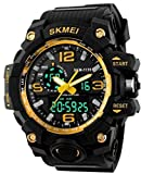 SKMEI Analog-Digital Black Dial Men's Watch - 1155 (Golden)