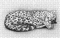 LHJOY クリスマスジグソーパズル500個大きな猫のヒョウの動物の芸術子供たちの女の子のための誕生日プレゼントとホリデーギフト 52x38cm