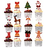 100 Toppers Cupcakes de Navidad, Decoración Magdalenas Pastel, Palillos Fiesta Navidad| ¡Árboles, Papá Noel, Muñeco de Nieve, Renos y Más! Colores Vibrantes, Resistente, Ecológico.