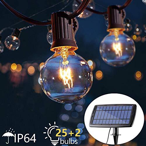 Solar-Lichterkette 25ft G40 hängend Außenlichter / innen wasserdicht 25 + 2 Ersatzlampen für Deckenbrücke Cafe Pavillon Party Decor