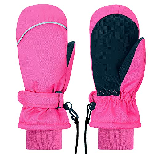 Kids Mittens Gloves, Gallop Chic Girls Boys Toddlers Winter Mitts, Children Thinsulate Lining Waterproof Winter Sports Snow Ski Mittens (Pink, 5 6 7 Y)