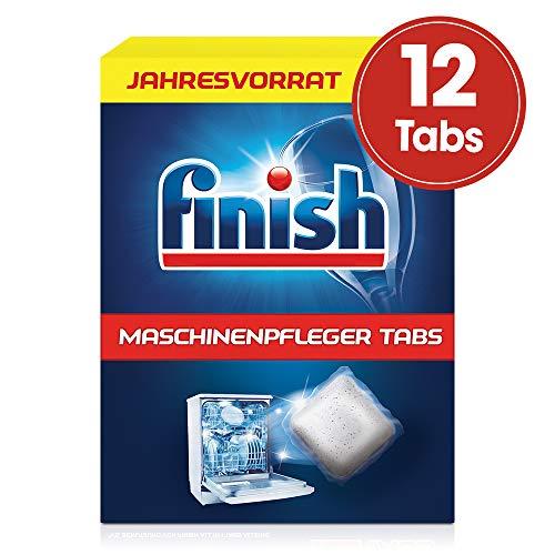 Finish Maschinenpfleger Tabs – Spülmaschinentabs gegen Schmutz & Fett im Inneren der Spülmaschine – Jahresvorrat Geschirrspülreiniger Tabs, 1er Pack (1 x 12 Tabs)
