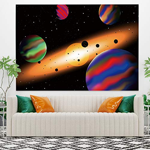 YongFoto 59.1x35.4 Inches Solar System Galaxy Planet Tapestry Starry Stars Outer Space Tapestry Fantasy Psychedelic Tapestry Wall Haning for Bedroom Living Room Dorm Decor