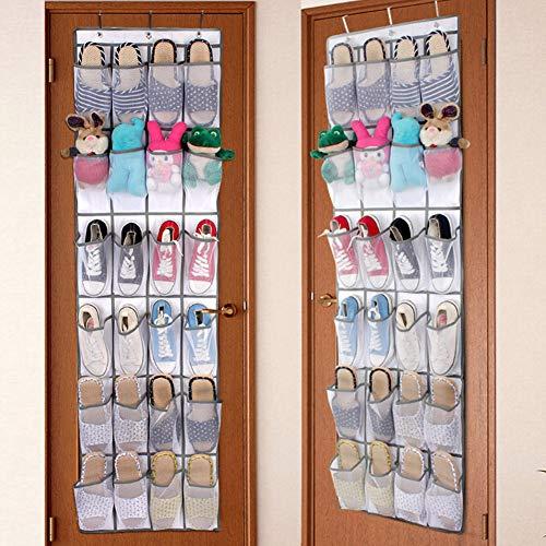 PBOHUZ Organizador de Zapatos -24 Bolsillos Tela no Tejida Plegable Puerta Colgante Armario Bolsa de Almacenamiento Organizador de Zapatos