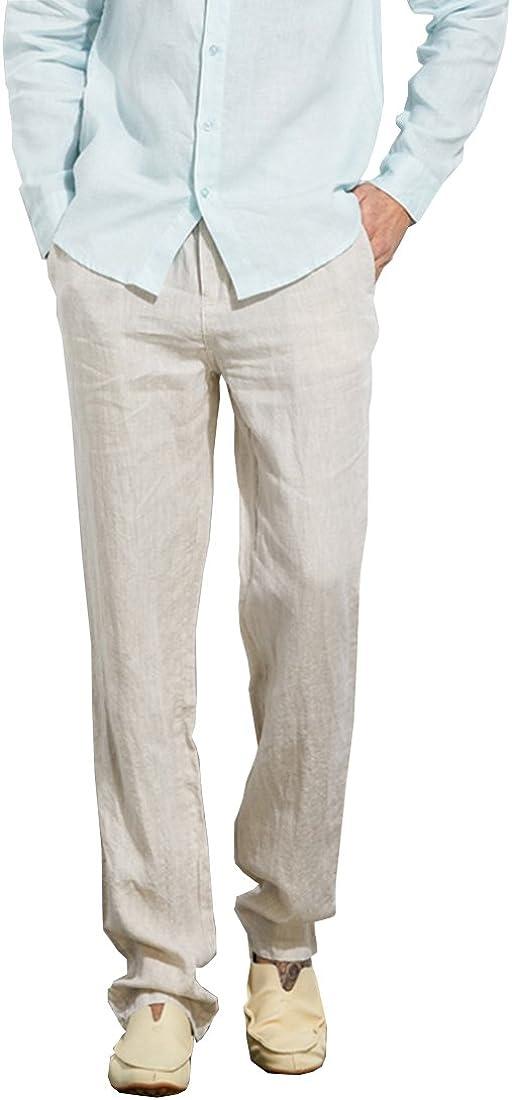 LOCALMODE Men's Casual Lightweight Trousers mart Linen Drawstring gift Ela
