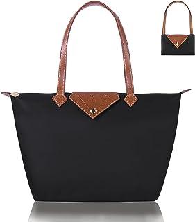 BOJLY Oxford pour Femme Sac à Bandoulière de Pliage Grande Capacité Sac a Main Nylon Dames Shopping Pliant Fourre-tout Pla...