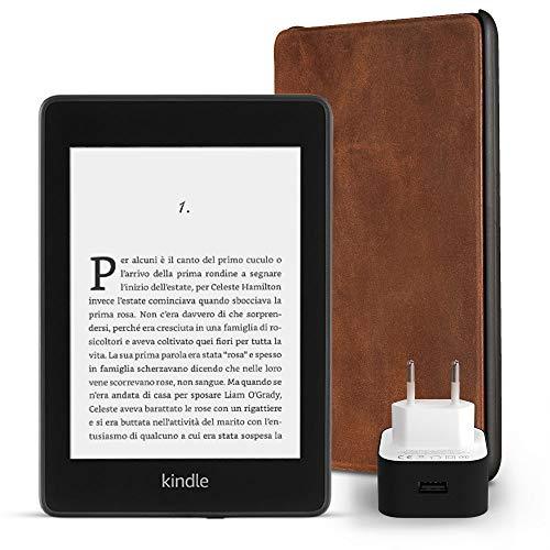 Kit essenziale Kindle Paperwhite, include un e-reader Kindle Paperwhite, 32 GB, con Wi-Fi e 4G gratuito, senza offerte speciali, una custodia Amazon in pelle di prima qualità e un caricabatteria Amazon Powerfast