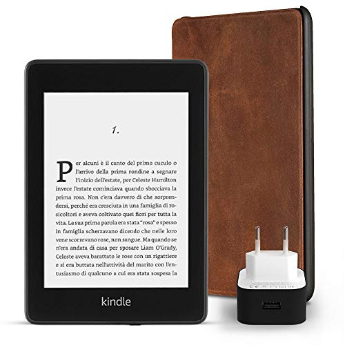 Kit essenziale Kindle Paperwhite, include un e-reader Kindle Paperwhite, 32 GB, Wi-Fi, senza offerte speciali, una custodia Amazon in pelle di prima qualità e un caricabatteria Amazon Powerfast