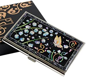 Mother of Pearl Lily of The Valley Design Black Metal Business Credit Name Id Card Holder Case Stainless Steel Engraved Slim Purse Pocket Cash Money Wallet