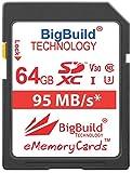 BigBuild Technology Tarjeta de memoria UHS-I U3 de 64 GB, 95 MB/s, para cámara Nikon D3400, D500, D5300, D5500, D5600, D610, D7200, D750, D7500, D850