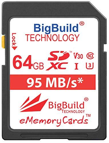 BigBuild Technology 64GB UHS-I U3 95MB/s Speicherkarte für Nikon D3400, D500, D5300, D5500, D5600, D610, D7200, D750, D7500, D850 Kamera