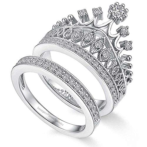 Jewelgenics Luxury Crystal Crown Inspired Silver Plated Stunning Princess Ring Set for Women and Girls