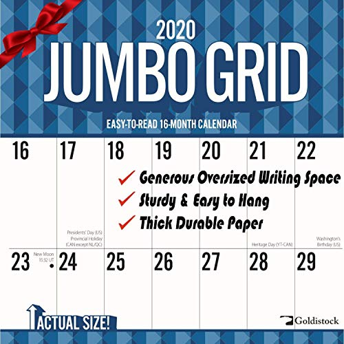 Goldistock 2020 Large Planner Wall Calendar-'Jumbo Large Print' 12' x 24' (Open) - Thick & Sturdy Paper - - Perfect for Organizing & Planning - Oversized Blocks