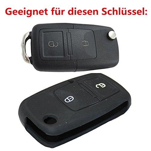 Tuqiang® 1 coque de clé pliante en silicone à 2 boutons pour VW Golf Polo Touran Passat Jetta Bora.