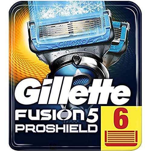 Gillette Fusion 5 ProShield Chill Rasierklingen mit Trimmerklinge für Präzision und Gleitbeschichtung, 6 Ersatzklingen