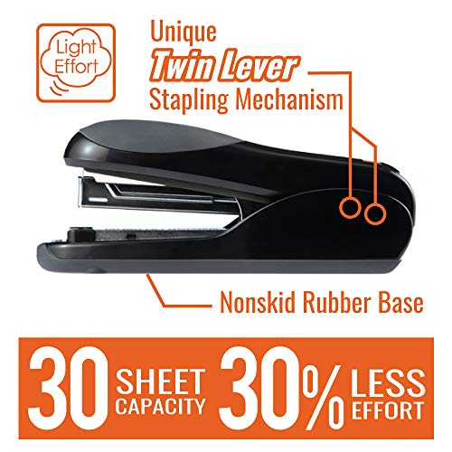 Max Flat-Clinch Black Standard Stapler with 30 Sheet Capacity (HD-50DFBK) Photo #2
