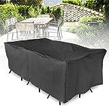 Cubre Objeto Protección Muebles de Patio Jardín Terraza Mesa Silla Rectangular Refugio Anti UV Polvo PaFurniture Impermeable Protector para la mayoría de los Muebles, negro, Large