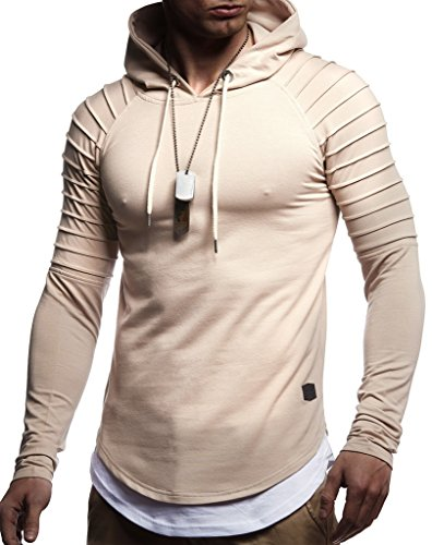 Leif Nelson Herren Kapuzenpullover Slim Fit Baumwolle-Anteil Moderner weißer Herren Hoodie-Sweatshirt-Pulli Langarm Herren schwarzer Pullover-Shirt mit Kapuze LN8155 Beige Medium