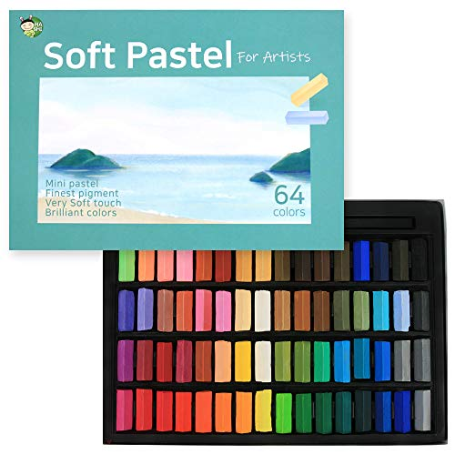 HASHI Non Toxic Soft Pastels Set for Professional - Square Chalk pastel Assorted Colors (64 Colors)