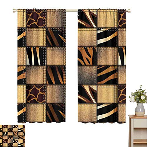 Find Cheap June Gissing Safari Decor Bedroom partition Curtain Jeans Denim Patchwork in Style Wilderness Stylish Fashionable Design Art Room Divider Curtain Screen Partitions W52 x L84 Brown Black
