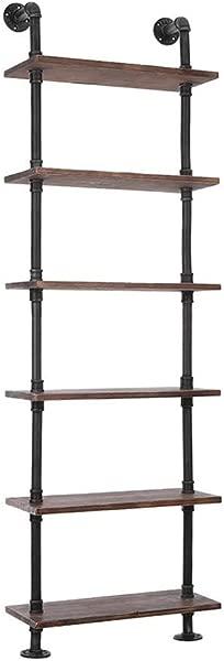LOKKHAN 24 Inch Industrial Pipe Shelves Wall Mounted Metal Pipe Wood Shelf Rustic Pipe Ladder Bookshelf Bookcase DIY Open Pipe Shelving