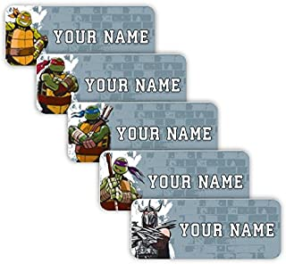 Teenage Mutant Ninja Turtles Theme Original Personalized Peel and Stick Waterproof Custom Name Tag Labels for Adults, Kids, Toddlers, and Babies – Use for Office, School, or Daycare