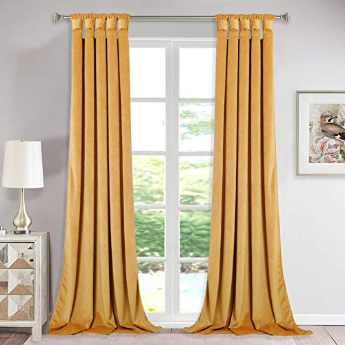 StangH Thick Velvet Curtain Panels - Sunlight Blocking Large Window Drapes with Twist Tab Design for Bedroom / Party / Hotel Hall, Warm Gold, Wide 52 x Long 96-Inches, 2 Panels
