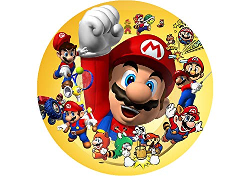 Partycolare Cialda per Torta Senza GLUTINE Tonda Diametro 20 cm - Super Mario Bros - mario006