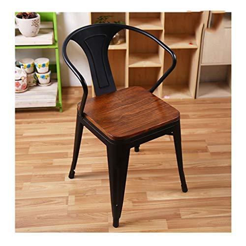 QZYQ Silla Comedor butacas sillas Salon Silla de Comedor de Hierro Forjado Retro Silla Silla de café de Madera Maciza (Size : A-1)
