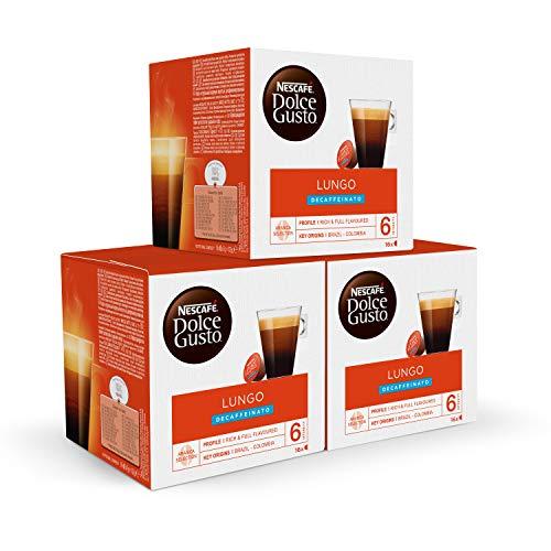 Nescafé DOLCE GUSTO Café LUNGO DESCAFEINADO, Pack de 3 x