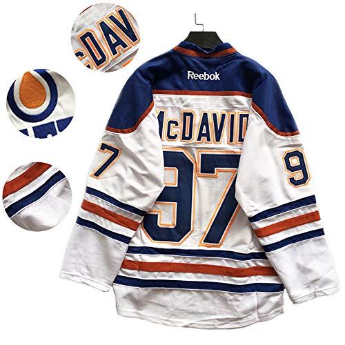 McDavid # 97 Oiler Camiseta de Hockey sobre Hielo Puck Jersey Hombres Ropa Deportiva Juego Uniforme del Equipo Loose Plus Size Uniforme de béisbol Blanco M-XXL