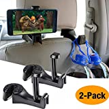 Car Hooks Car Seat Back Hooks with Phone Holder,OCUBE( 2 Pack) Universal Vehicle Car Headrest Hooks Hanger with Lock and Phone Bracket for Holding Phones and Hanging Bag, Purse, Cloth, Grocery-Black