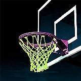 Tuscom Luminous Basketball Rim Net,17.32x12.59in for Night Outdoor Sport Nylon Braided Basketball Net (White)